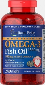 Puritan's Pride USA Omega-3 Fish Oil Triple Strength 1360 mg, 240 Softgels (капсул)