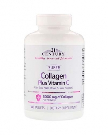 21st Century Super Collagen Plus Vitamin C 6000 mg 180 таб