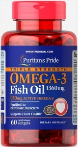 Puritan's Pride USA Omega-3 Fish Oil Triple Strength 1360 mg, 60 Softgels (капсул)